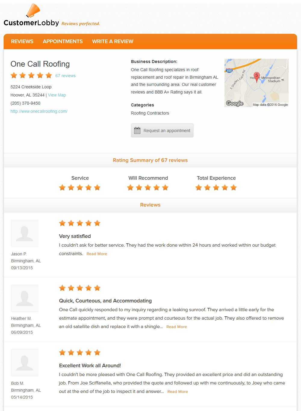 Roofing Company Reviews In Birmingham, AL · One Call Roofers Customer  Service Award ...